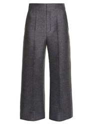 Lanvin Wide Leg Flannel Cropped Trousers