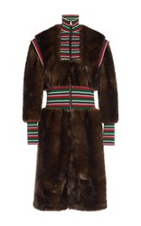 Stella Jean Striped Combo Faux Fur Coat Brown