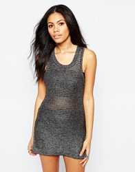Brave Soul Metallic Sleeveless Jumper Silver