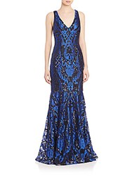 David Meister Three Dimensional Embroidered Gown Royal Blue Black Combo