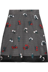 Markus Lupfer Cactus Embroidered Silk Blend Organza Skirt Black