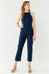 Urban Outfitters Uo Hattie High Neck Linen Jumpsuit Navy
