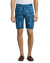 Robert Graham Paisley Print Linen Blend Shorts Blue