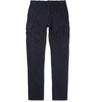 James Perse Slim Fit Garment Dyed Linen And Cotton Blend Cargo Trousers Navy