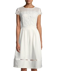 Nanette Nanette Lepore Cap Sleeve Lace Fit And Flare Dress White