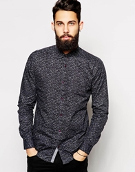 Vito Shirt With All Over Print In Slim Fit Navy