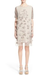 Women's Fabiana Filippi Floral Applique Organza Overlay Dress