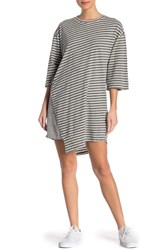 Current Elliott The Slice Asymmetrical Hem Stripe T Shirt Dress Heather Slice