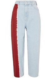 House Of Holland Woman Frayed Two Tone High Rise Straight Leg Jeans Light Denim