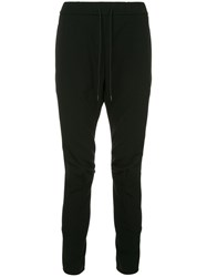 Attachment Dropped Crotch Track Pants Black