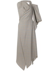 Awake A.W.A.K.E. Asymmetric Long Plaid Print Dress Nude And Neutrals