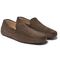 Tod's Gommino Nubuck Driving Shoes Brown