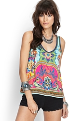 Forever 21 Ornate Racerback Tank Pink Yellow