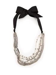 Lanvin Bow And Faux Pearl Embellished Necklace White