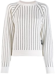 Barrie Striped Cashmere Jumper White