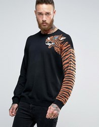 Asos Jumper With Tiger Sleeve And Metallic Yarn Black