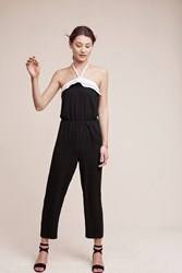 Anthropologie Simone Ruffled Halter Jumpsuit Black
