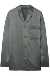 Joseph Rupert Silk Satin Shirt Gray Green