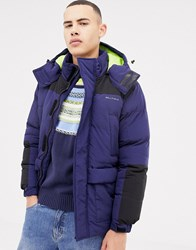 Bellfield Hooded Puffer Jacket With Colour Block Navy