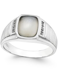 Macy's Men's Moonstone 10 X 8Mm And Diamond Accent Ring In Sterling Silver