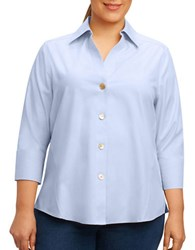 Foxcroft Plus Paige Three Quarter Sleeve Shirt Blue