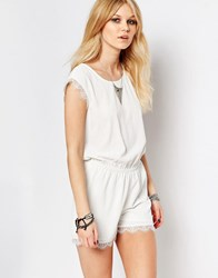 Noisy May Petite Lace Trim Playsuit White