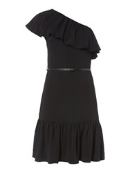 Therapy Clarissa One Shoulder Ruffle Dress Black