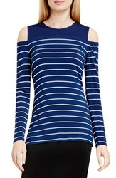 Vince Camuto Women's 'Willow Stripe' Cold Shoulder Top Naval Navy