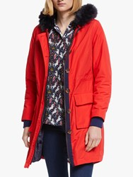 Boden Masden Faux Fur Trim Parka Post Box Red