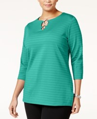 Jm Collection Plus Size Embellished Keyhole Tunic Only At Macy's Mermaid Green