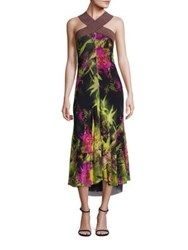 Fuzzi Tropical Floral Print Halter Dress Verde Multi