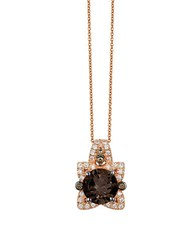 Le Vian Chocolate Quartz Vanilla Diamond And Chocolate Diamond 14K Strawberry Gold Pendant Necklace Brown