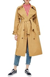 Topshop Batwing Trench Coat Camel