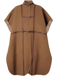 Burberry Leather Harness Detail Wool Blend Cape Brown