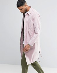 Asos Trench Coat With Parka Detail In Pink Pink