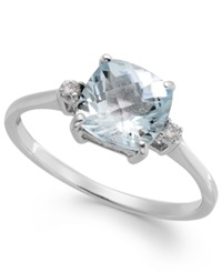 Macy's Aquamarine 1 1 3 Ct. T.W. And Diamond Accent Ring In 14K White Gold