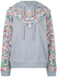 Needle And Thread Floral Embroidered Hoodie Blue