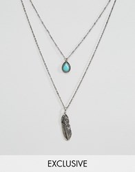 Designb London Feather And Stone Necklace In 2 Pack Silver