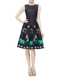 Oscar De La Renta Jewel Neck Sleeveless Elephant Embroidered Dress Navy