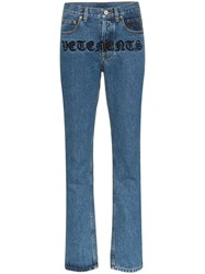 Vetements Gothic Magic Logo Embroidered Straight Leg Jeans Blue