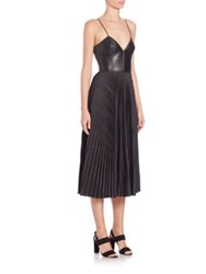 Cedric Charlier Pleated Faux Leather Bustier Midi Dress Black