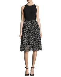 Carmen Marc Valvo Sleeveless Crepe And Embroidered Mesh Cocktail Dress Black Pewter Black Pewter