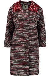 Milly Romy Embellished Metallic Tweed Coat Red