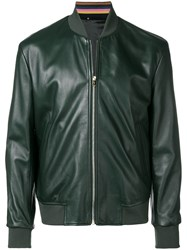 Paul Smith Leather Bomber Jacket Green