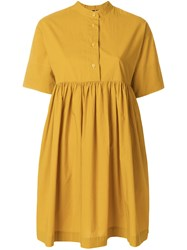 Woolrich Flared Short Sleeve Dress Yellow And Orange