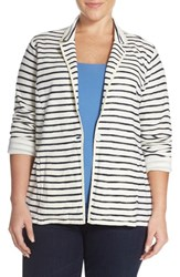 Plus Size Women's Caslon One Button Knit Blazer Ivory V Navy S Dana Stp