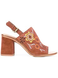 See By Chloe Embroidered Slingback Sandals Brown