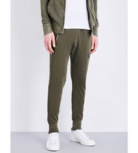 True Religion Relaxed Fit Skinny Cotton Jersey Jogging Bottoms Military Green
