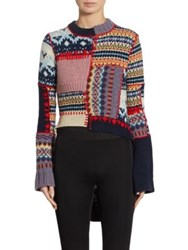 Alexander Mcqueen Patchwork Wool And Cashmere Hi Lo Sweater Multi