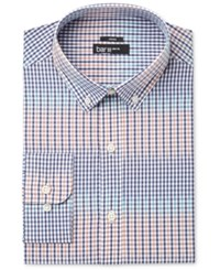 Bar Iii Men's Slim Fit Stretch Coral Blue Gingham Dress Shirt Only At Macy's